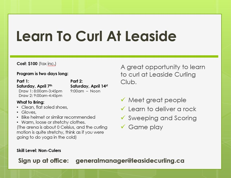 Learn to Curl 2018 flyer