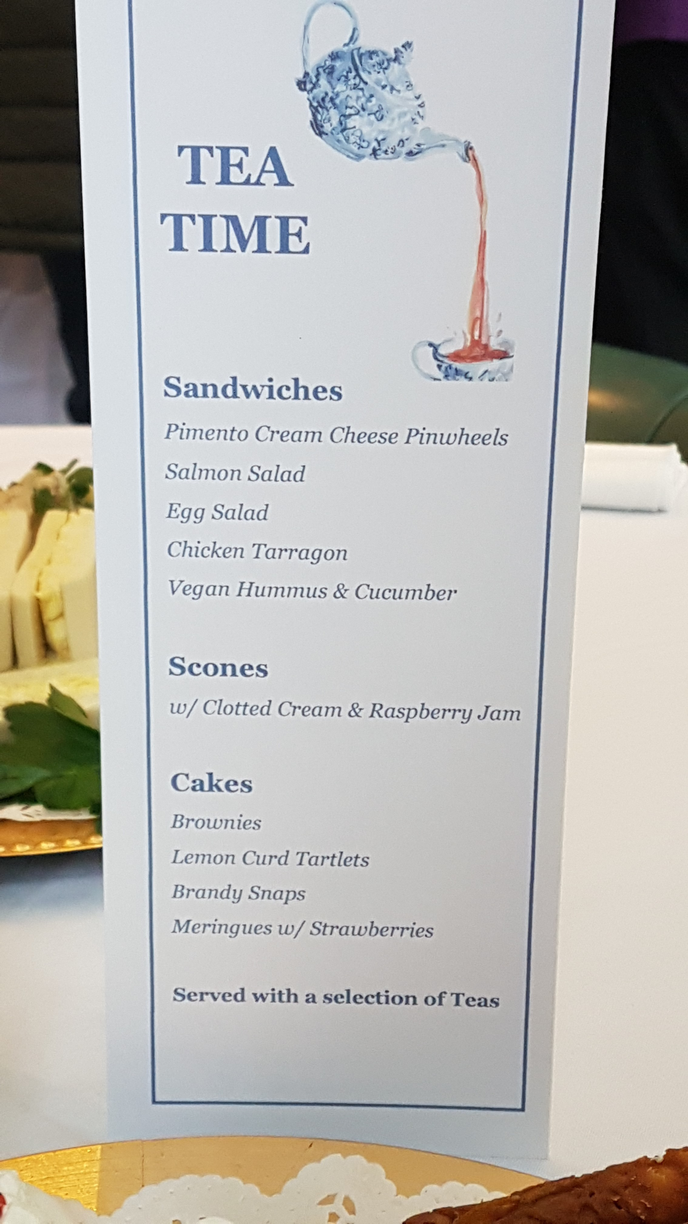 High tea menu